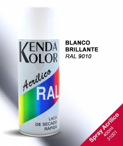 SPRAY  KENDA BLANCO BRILLANTE RAL 9010 400ML