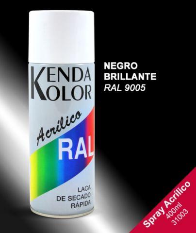 SPRAY KENDA NEGRO BRILLANTE RAL 9005 400ML